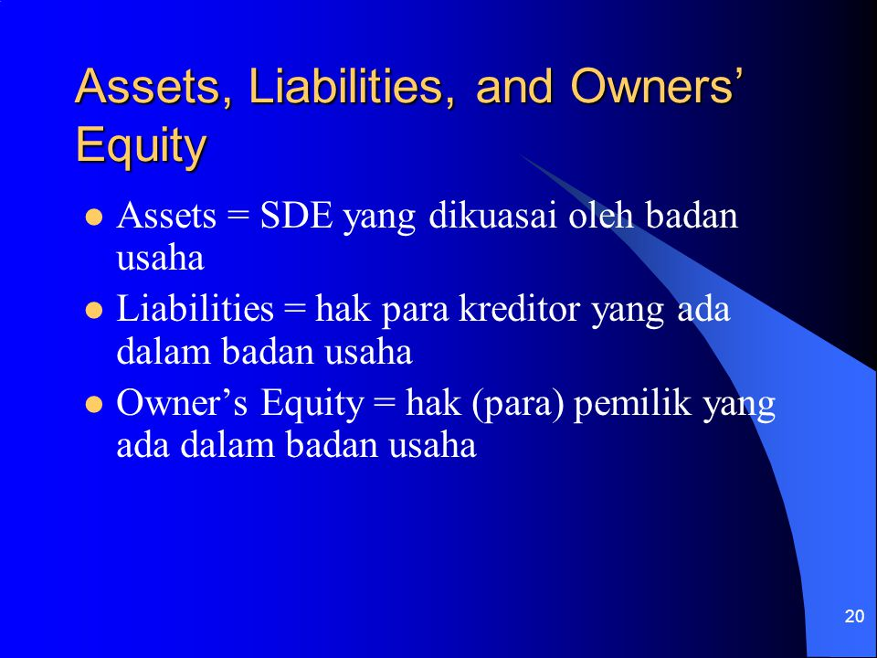 Assets, Liabilities, and Owners' Equity