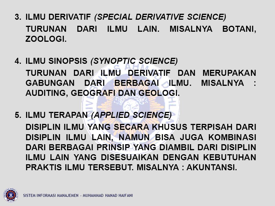 3. ILMU DERIVATIF (SPECIAL DERIVATIVE SCIENCE) TURUNAN DARI ILMU LAIN