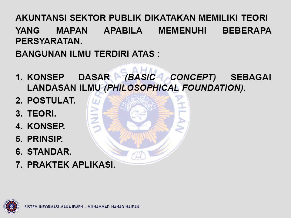 AKUNTANSI SEKTOR PUBLIK DIKATAKAN MEMILIKI TEORI YANG MAPAN APABILA MEMENUHI BEBERAPA PERSYARATAN. BANGUNAN ILMU TERDIRI ATAS : 1. KONSEP DASAR (BASIC CONCEPT) SEBAGAI LANDASAN ILMU (PHILOSOPHICAL FOUNDATION). 2. POSTULAT. 3. TEORI. 4. KONSEP. 5. PRINSIP. 6. STANDAR. 7. PRAKTEK APLIKASI.