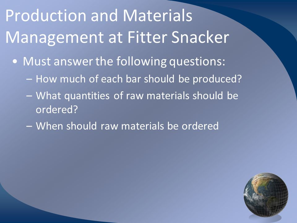 Production and Materials Management at Fitter Snacker