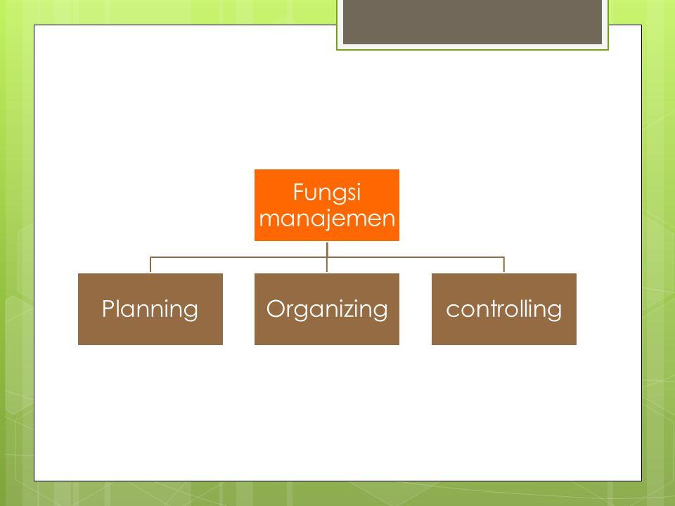 Fungsi manajemen Planning Organizing controlling
