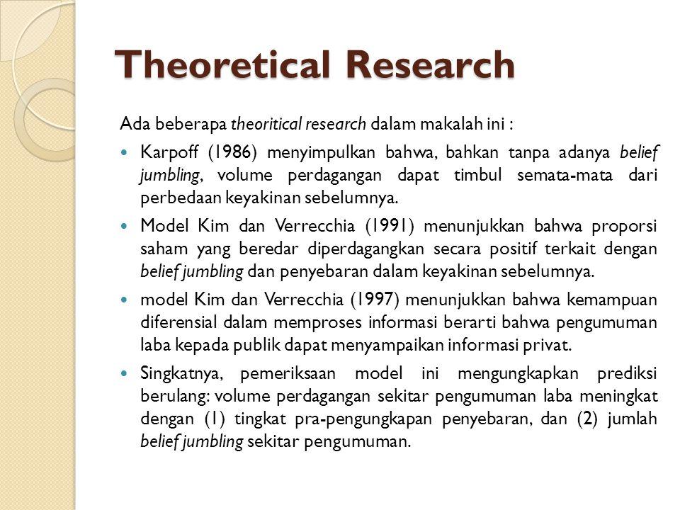 Theoretical Research Ada beberapa theoritical research dalam makalah ini :