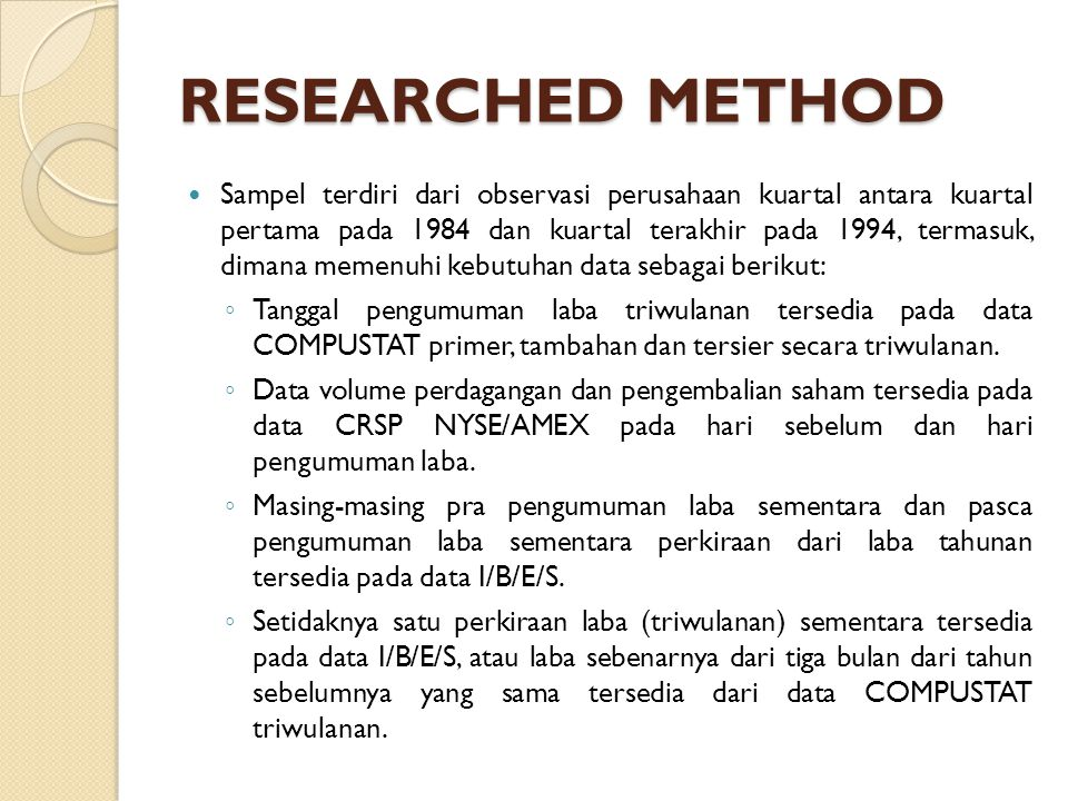 RESEARCHED METHOD