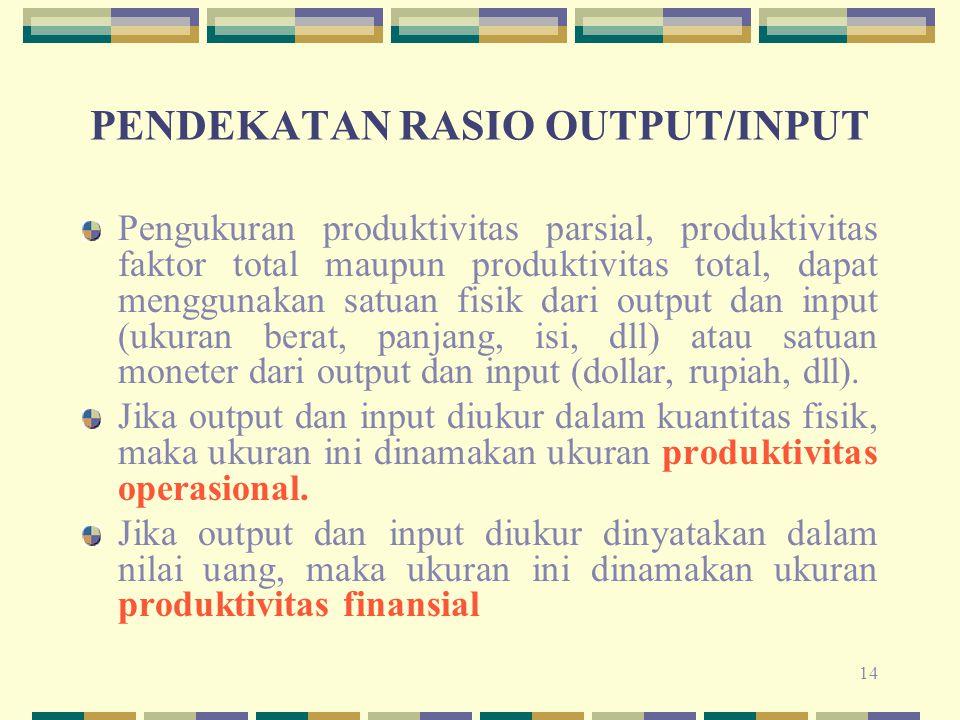 PENDEKATAN RASIO OUTPUT/INPUT