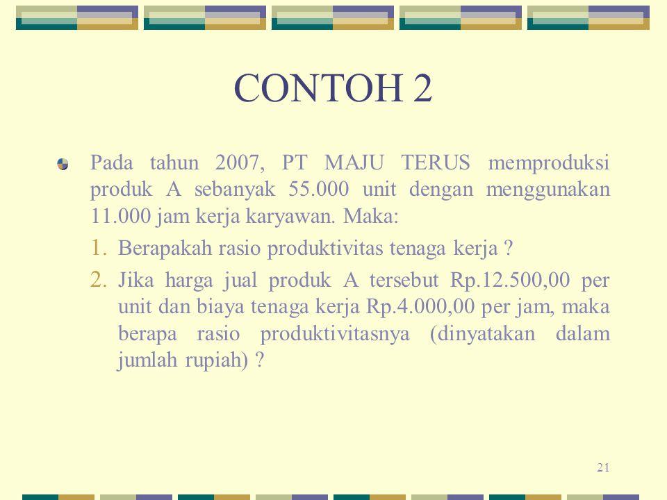 CONTOH 2 Pada tahun 2007, PT MAJU TERUS memproduksi produk A sebanyak 55.000 unit dengan menggunakan 11.000 jam kerja karyawan. Maka:
