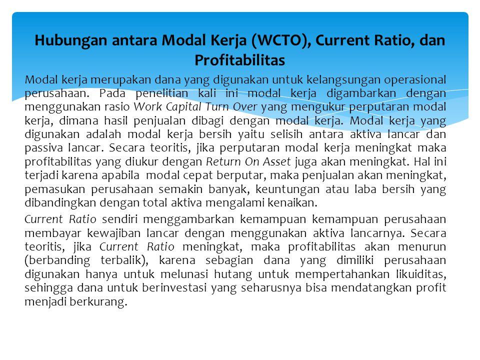 Hubungan antara Modal Kerja (WCTO), Current Ratio, dan Profitabilitas