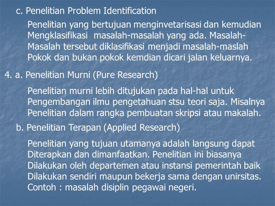 c. Penelitian Problem Identification