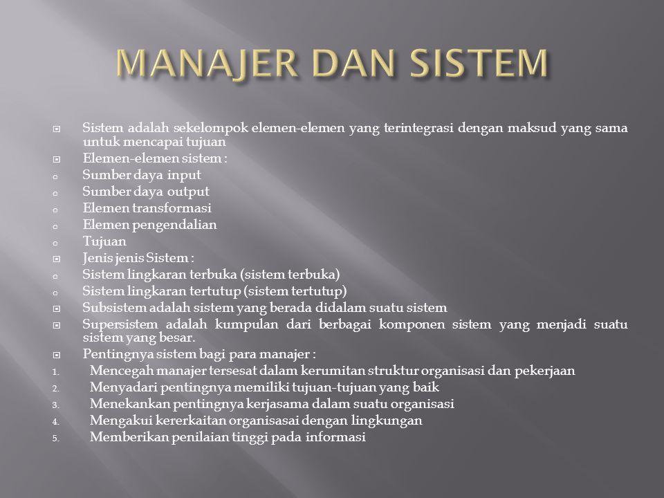 MANAJER DAN SISTEM Sistem adalah sekelompok elemen-elemen yang terintegrasi dengan maksud yang sama untuk mencapai tujuan.