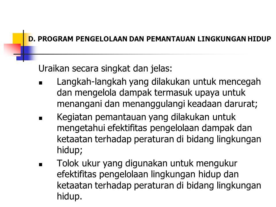 D. PROGRAM PENGELOLAAN DAN PEMANTAUAN LINGKUNGAN HIDUP