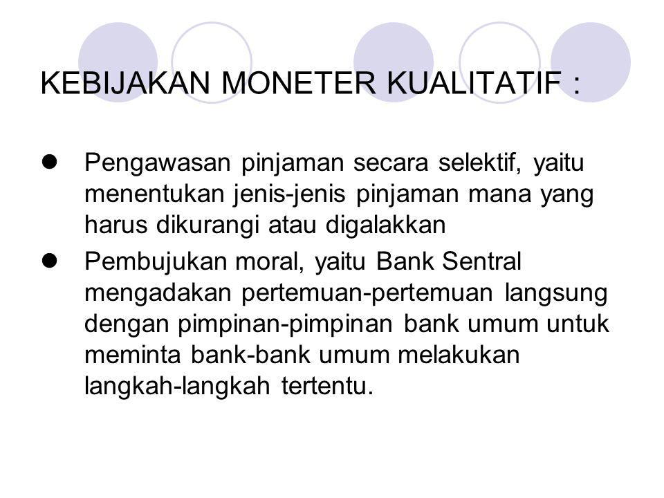 KEBIJAKAN MONETER KUALITATIF :