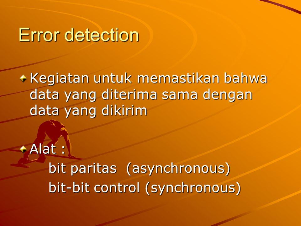 Error detection Kegiatan untuk memastikan bahwa data yang diterima sama dengan data yang dikirim. Alat :