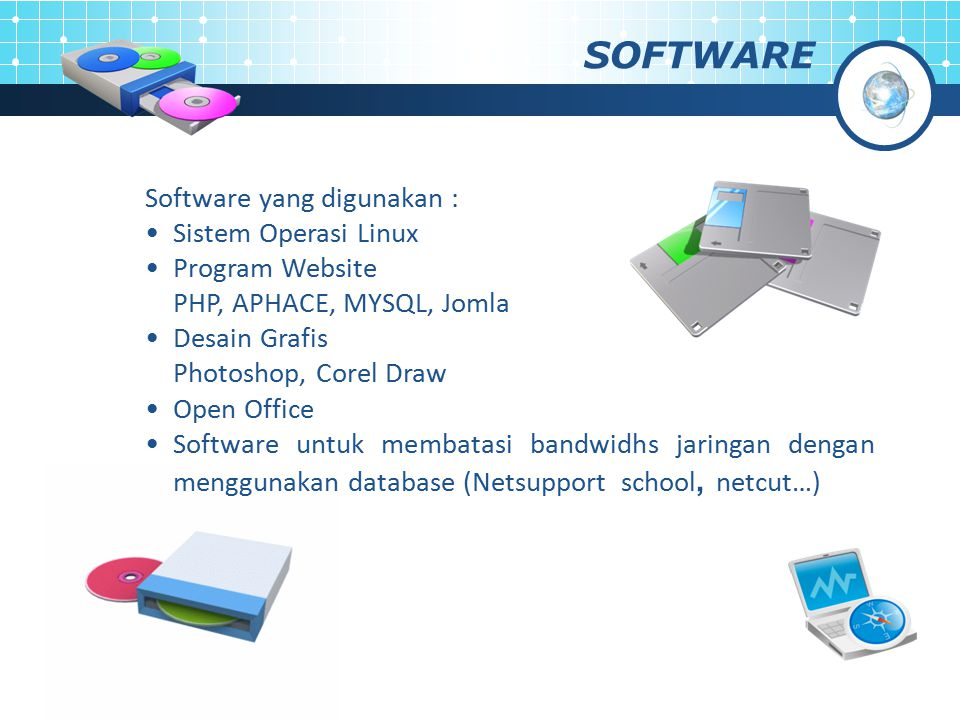 SOFTWARE Software yang digunakan : Sistem Operasi Linux