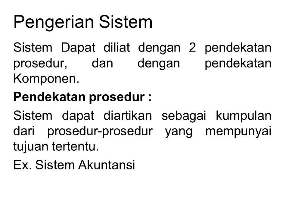 Pengerian Sistem Sistem Dapat diliat dengan 2 pendekatan prosedur, dan dengan pendekatan Komponen. Pendekatan prosedur :