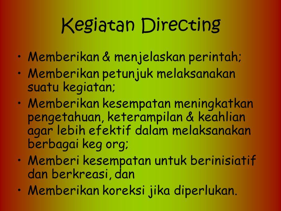 Kegiatan Directing Memberikan & menjelaskan perintah;