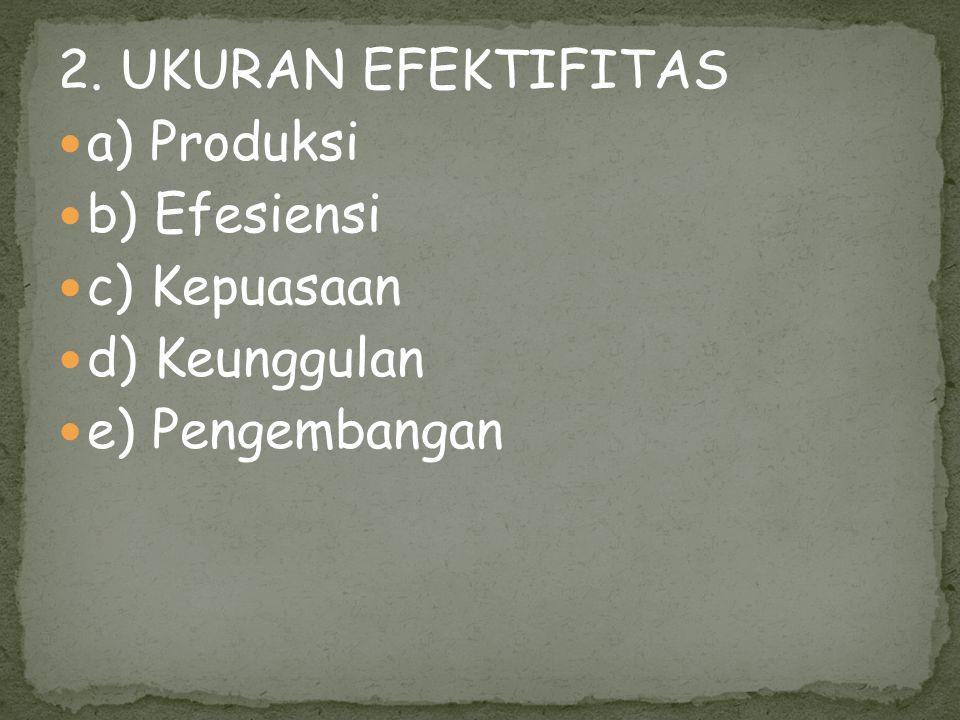2. UKURAN EFEKTIFITAS a) Produksi b) Efesiensi c) Kepuasaan d) Keunggulan e) Pengembangan