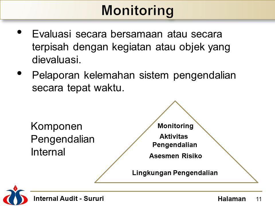 Monitoring Evaluasi secara bersamaan atau secara terpisah dengan kegiatan atau objek yang dievaluasi.