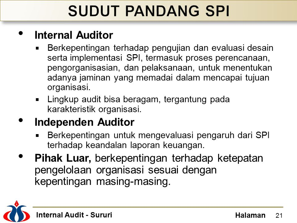 SUDUT PANDANG SPI Internal Auditor Independen Auditor