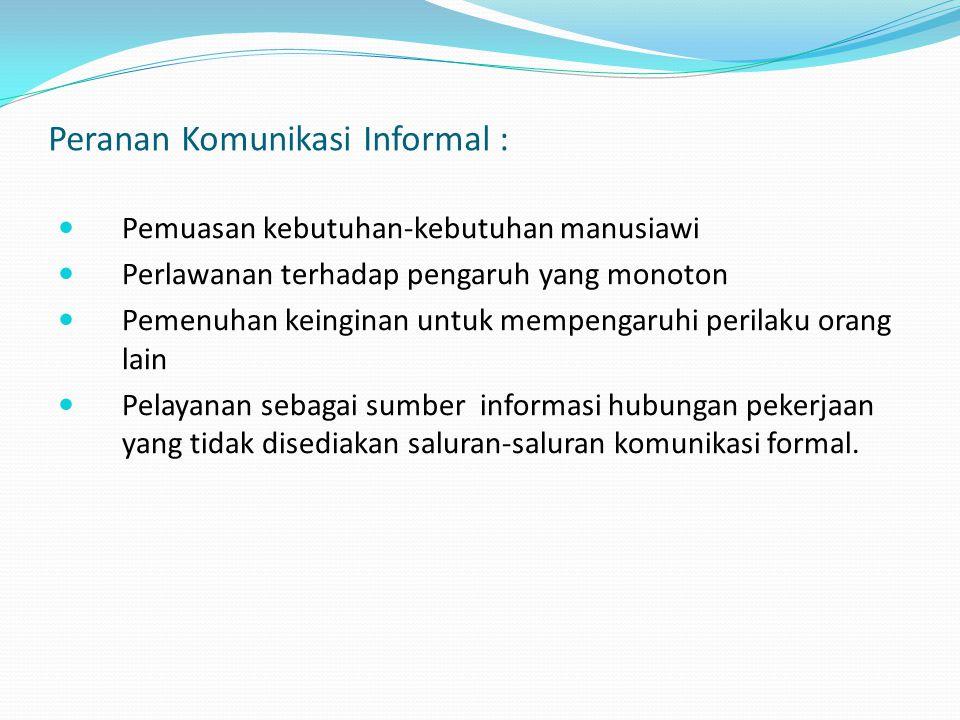 Peranan Komunikasi Informal :
