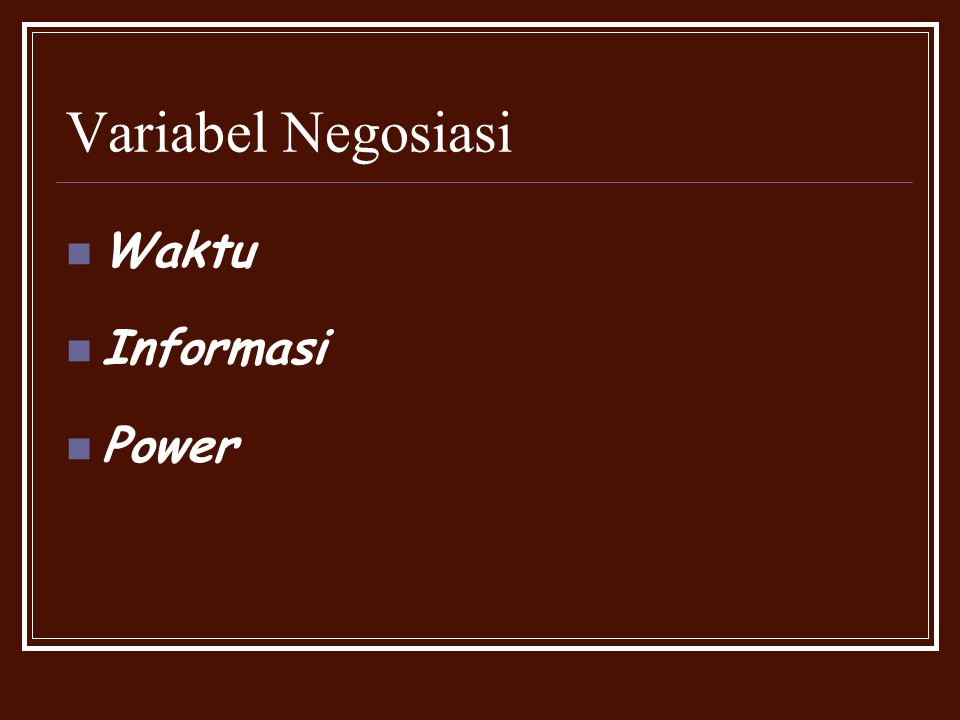 Variabel Negosiasi Waktu Informasi Power