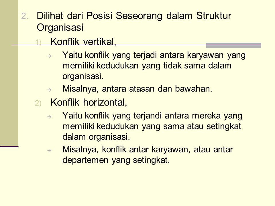 Dilihat dari Posisi Seseorang dalam Struktur Organisasi