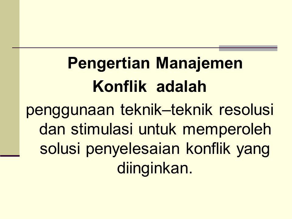 Pengertian Manajemen Konflik adalah.