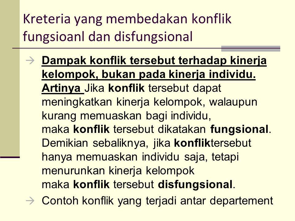 Kreteria yang membedakan konflik fungsioanl dan disfungsional