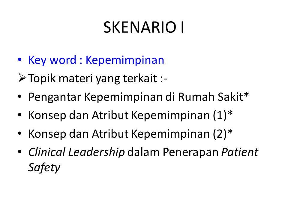 SKENARIO I Key word : Kepemimpinan Topik materi yang terkait :-