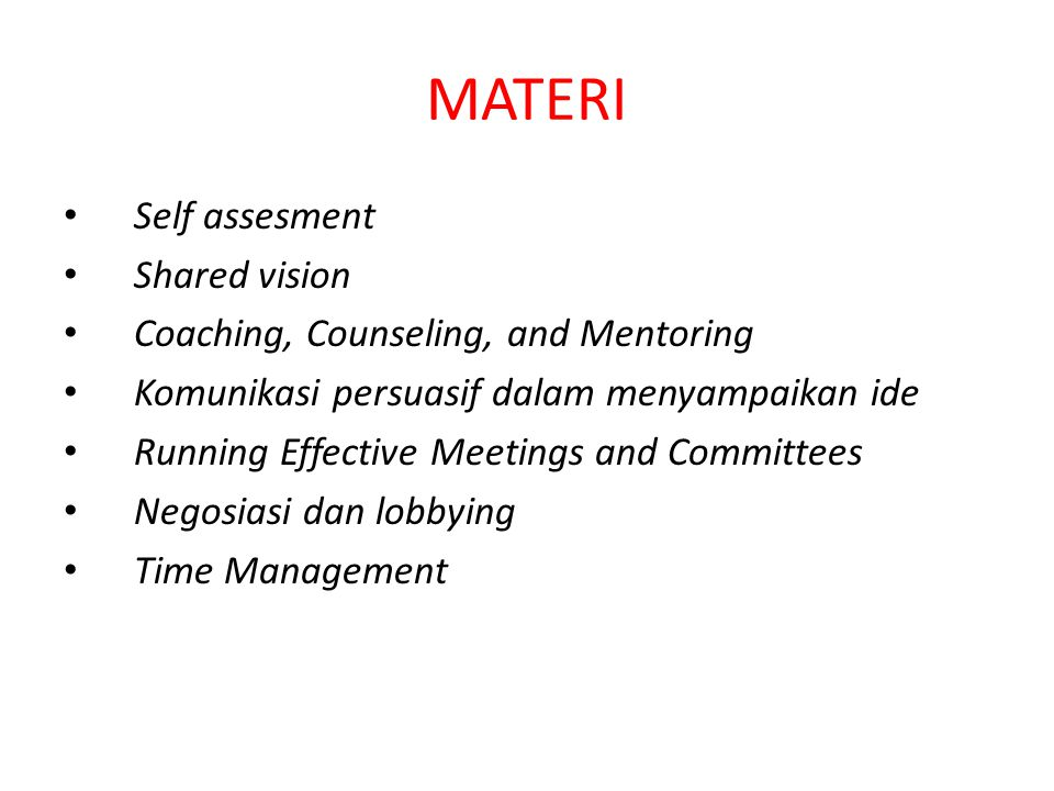 MATERI Self assesment Shared vision