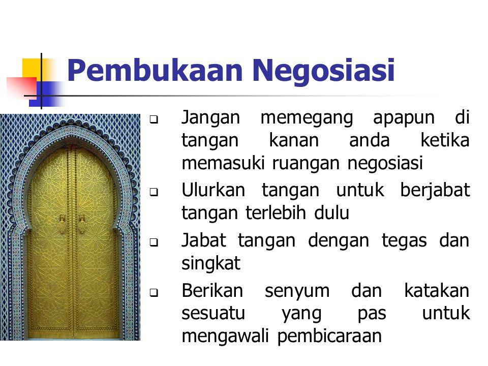 Pembukaan Negosiasi Jangan memegang apapun di tangan kanan anda ketika memasuki ruangan negosiasi.