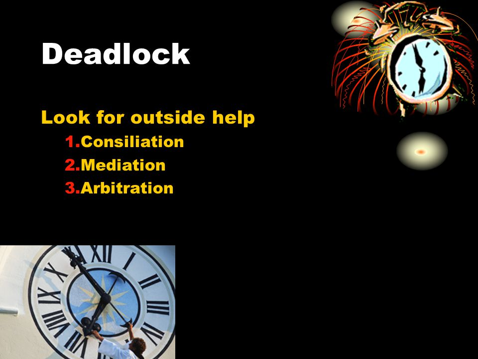 Deadlock Look for outside help Consiliation Mediation Arbitration