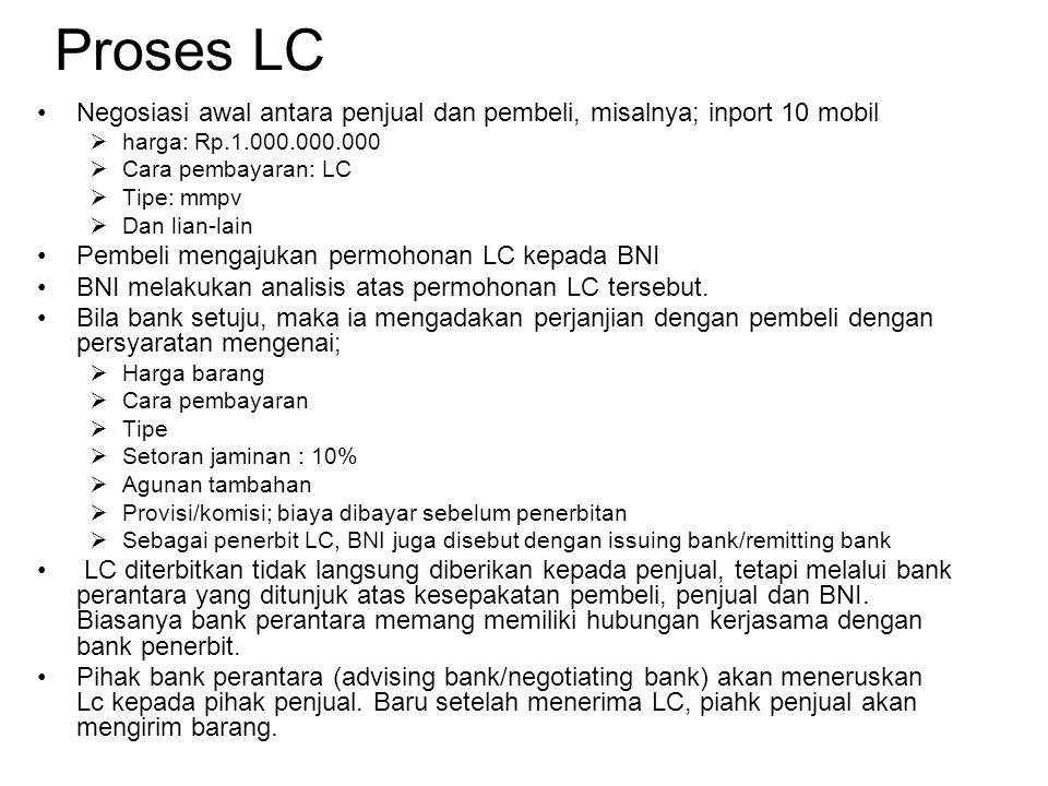 Proses LC Negosiasi awal antara penjual dan pembeli, misalnya; inport 10 mobil. harga: Rp.1.000.000.000.