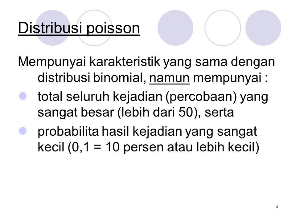 Distribusi poisson Mempunyai karakteristik yang sama dengan distribusi binomial, namun mempunyai :
