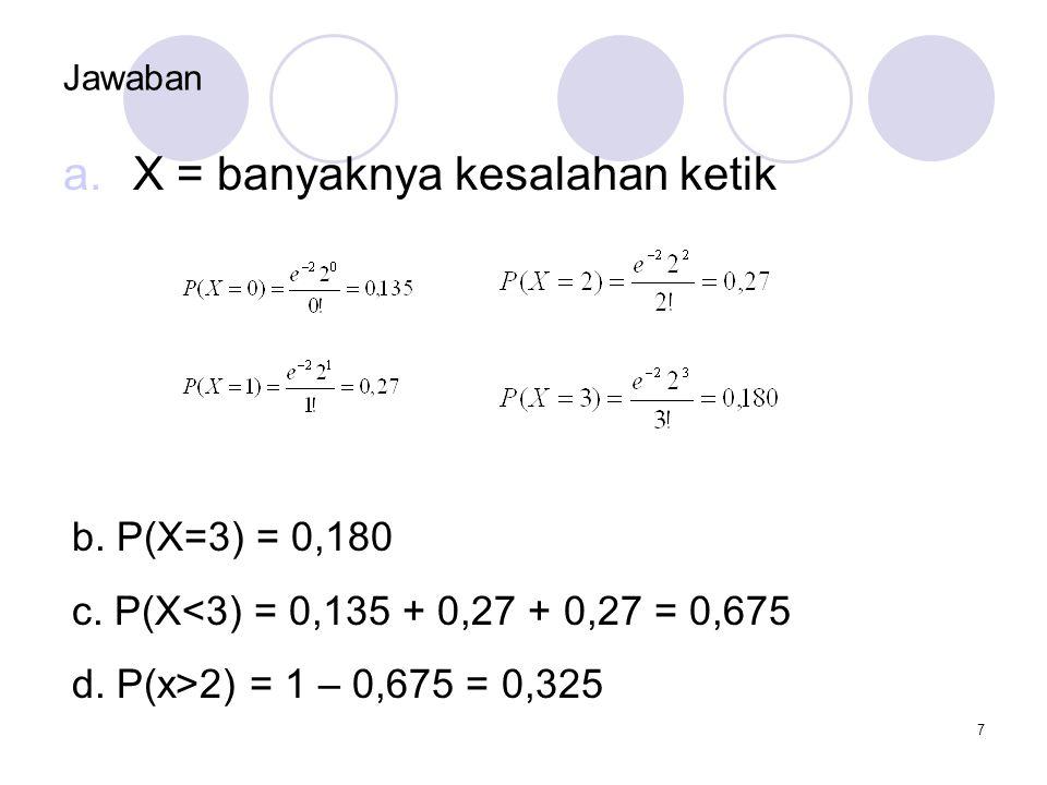X = banyaknya kesalahan ketik
