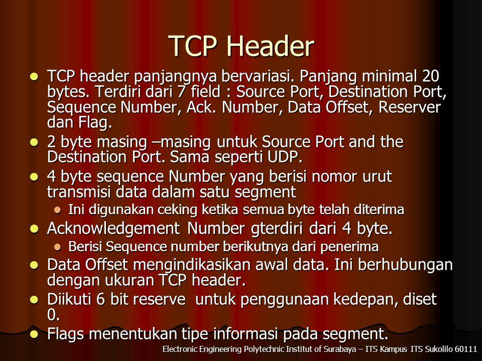 TCP Header Acknowledgement Number gterdiri dari 4 byte.