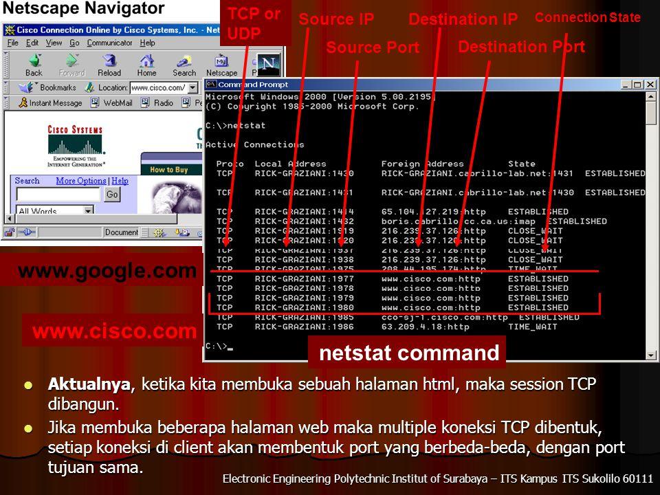 www.google.com www.cisco.com netstat command TCP or UDP Source IP