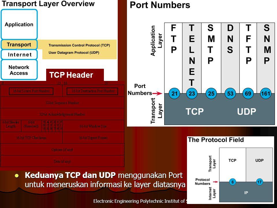 TCP Header Keduanya TCP dan UDP menggunakan Port untuk meneruskan informasi ke layer diatasnya