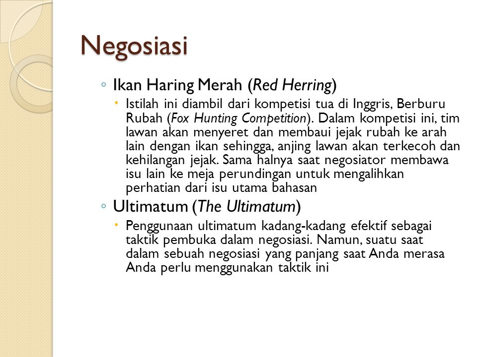 Negosiasi Ikan Haring Merah (Red Herring) Ultimatum (The Ultimatum)