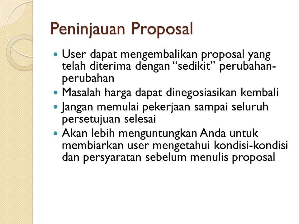 Peninjauan Proposal User dapat mengembalikan proposal yang telah diterima dengan sedikit perubahan- perubahan.