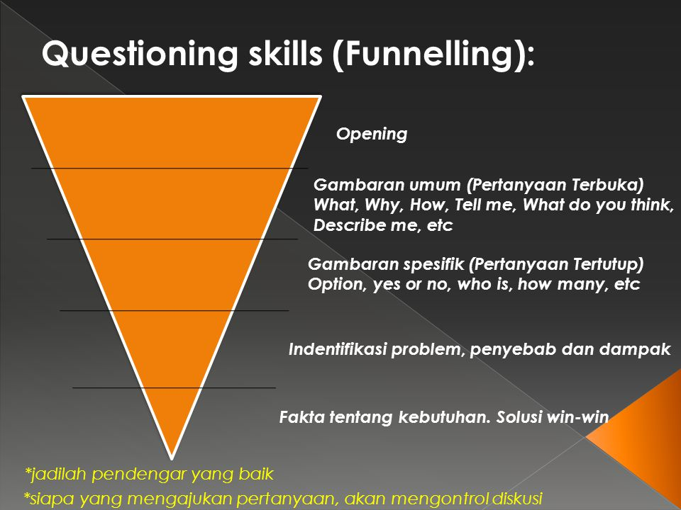 Questioning skills (Funnelling):