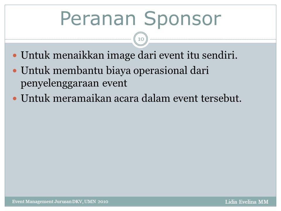 Peranan Sponsor Untuk menaikkan image dari event itu sendiri.