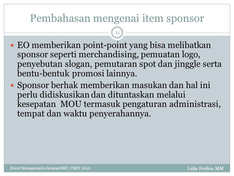 Pembahasan mengenai item sponsor