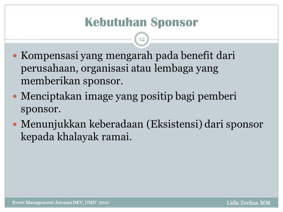 Kebutuhan Sponsor Kompensasi yang mengarah pada benefit dari perusahaan, organisasi atau lembaga yang memberikan sponsor.