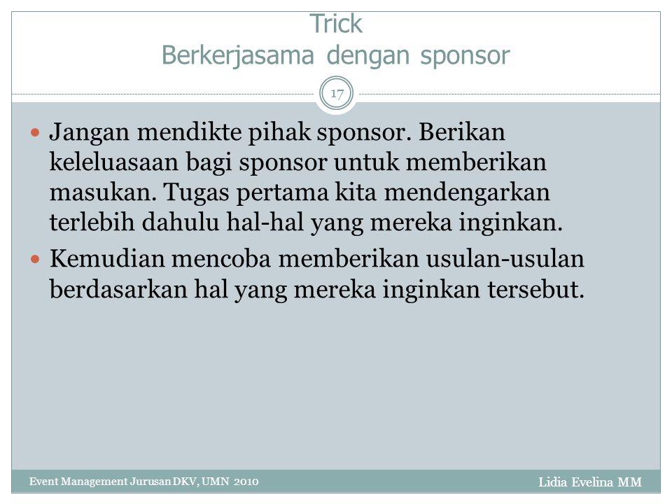Trick Berkerjasama dengan sponsor