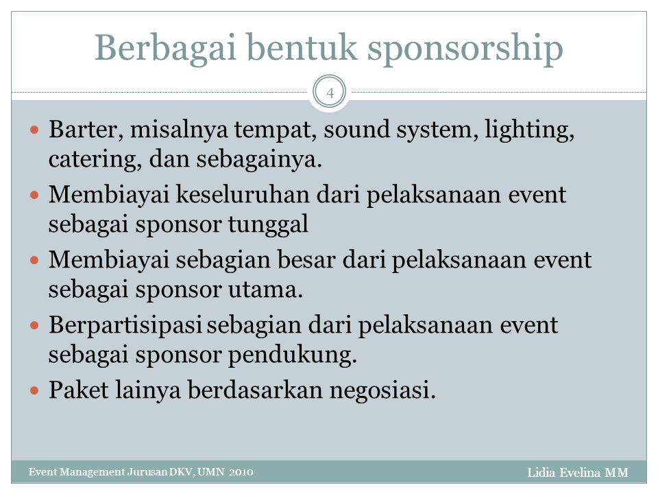 Berbagai bentuk sponsorship
