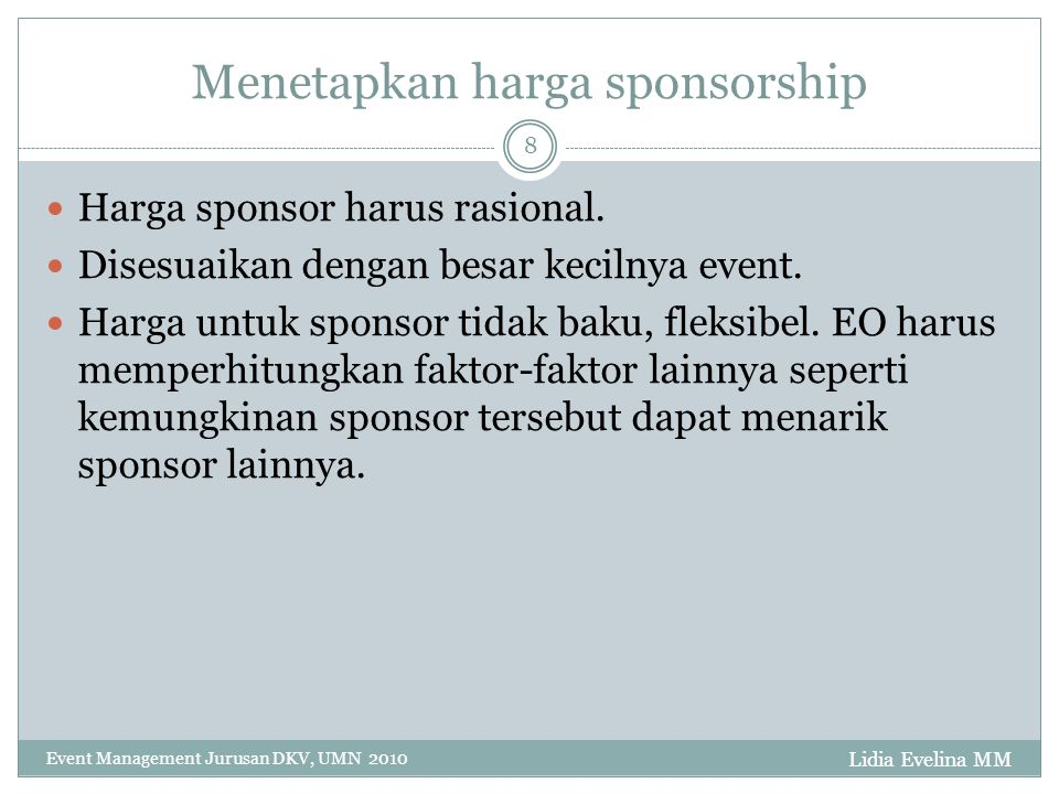 Menetapkan harga sponsorship