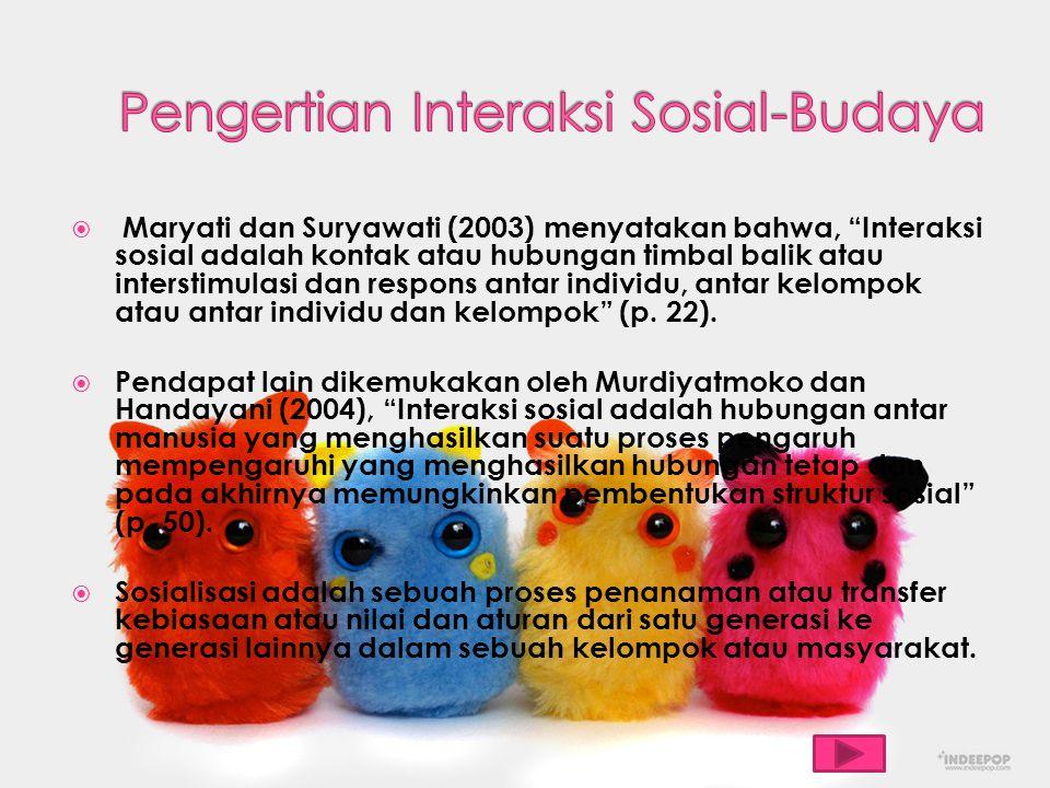 Pengertian Interaksi Sosial-Budaya