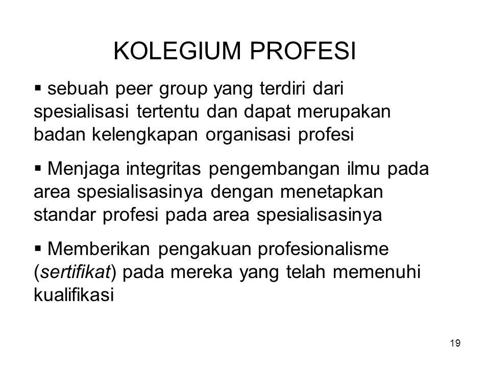 KOLEGIUM PROFESI sebuah peer group yang terdiri dari spesialisasi tertentu dan dapat merupakan badan kelengkapan organisasi profesi.