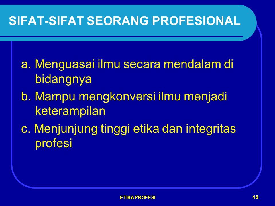 SIFAT-SIFAT SEORANG PROFESIONAL