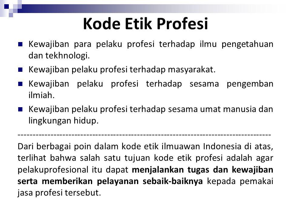 Kode Etik Profesi Kewajiban para pelaku profesi terhadap ilmu pengetahuan dan tekhnologi. Kewajiban pelaku profesi terhadap masyarakat.