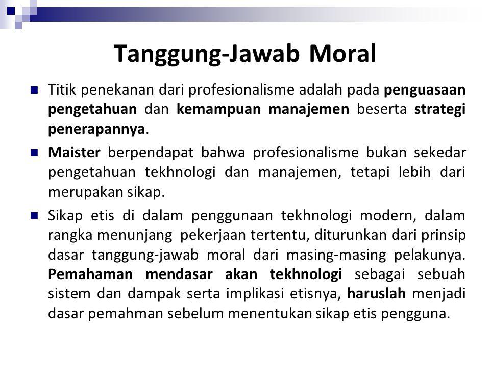 Tanggung-Jawab Moral Titik penekanan dari profesionalisme adalah pada penguasaan pengetahuan dan kemampuan manajemen beserta strategi penerapannya.